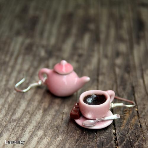 Velký hrnek kávy a konvička - růžová
